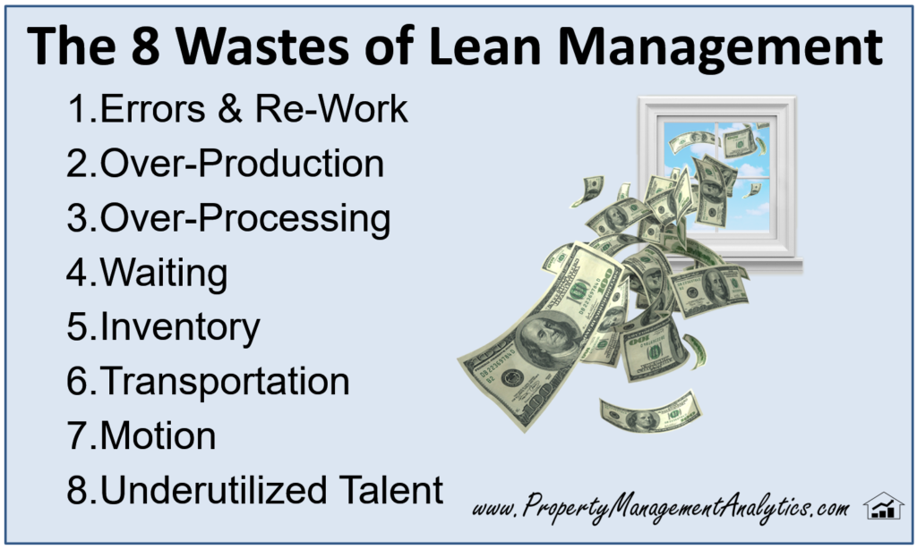 list of eight 8 wastes in lean methods in property management
